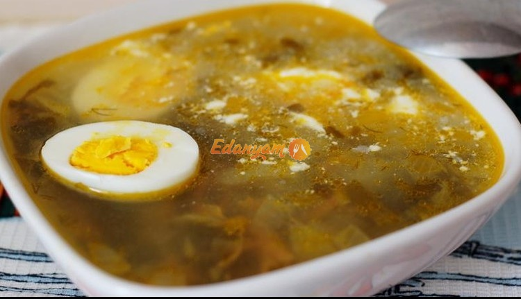 Щавелевый суп с яйцом - фото рецепт